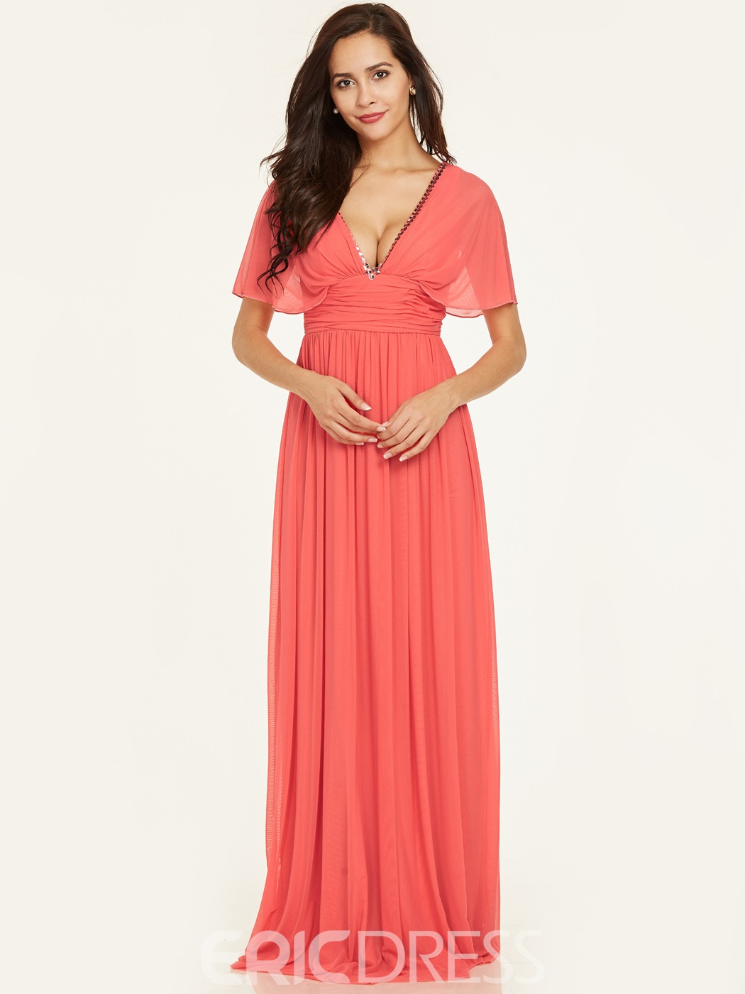 Ericdress V Neck Beaded A Line Long Evening Dress