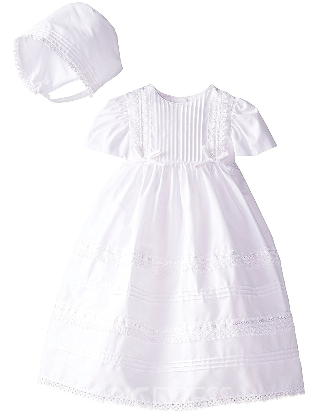 Ericdress Scoop Baby Girls Christening Gown with Bonnet