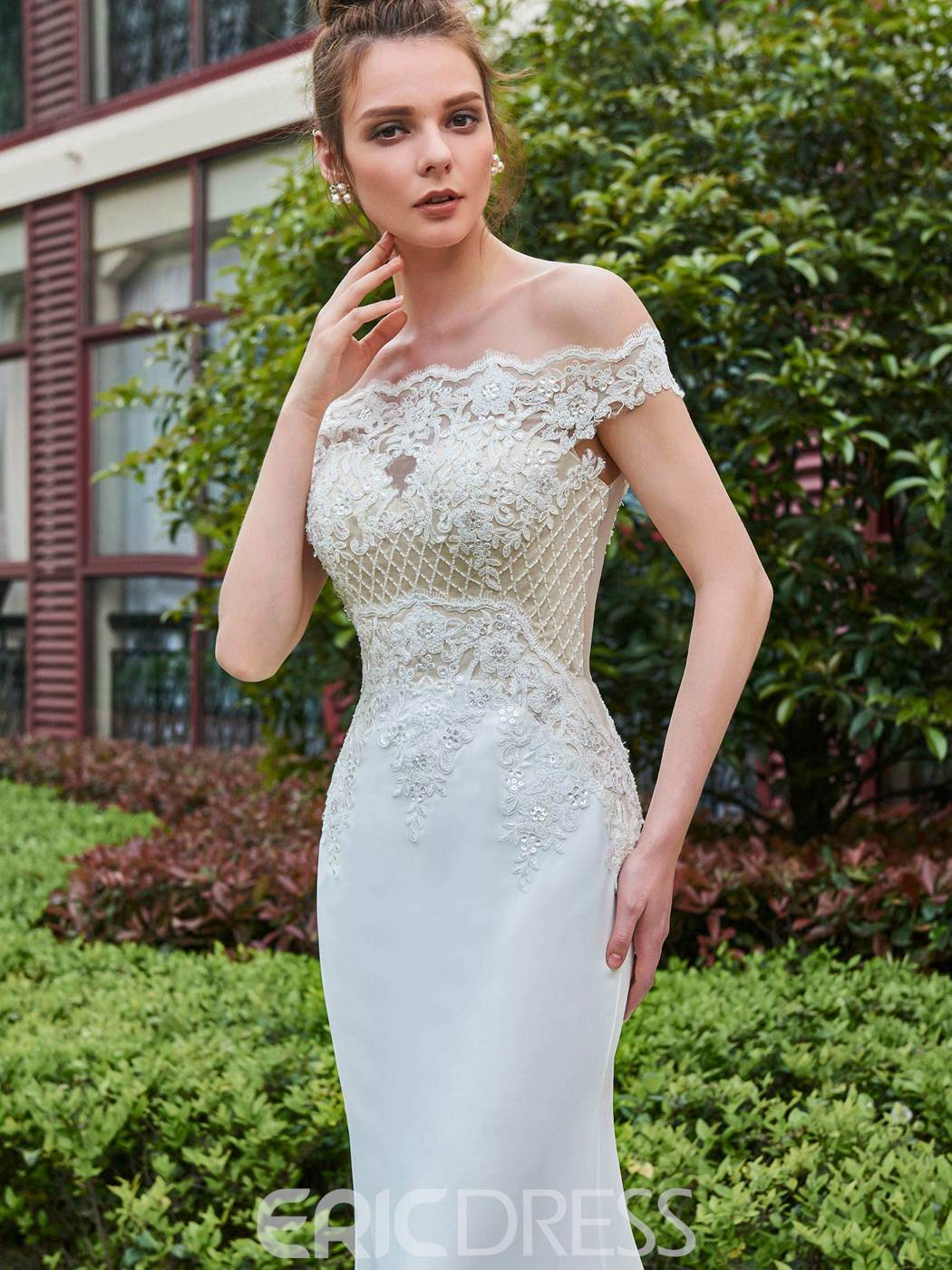 Ericdress Elegant Long Mermaid Beading Off Shoulder Wedding Dress