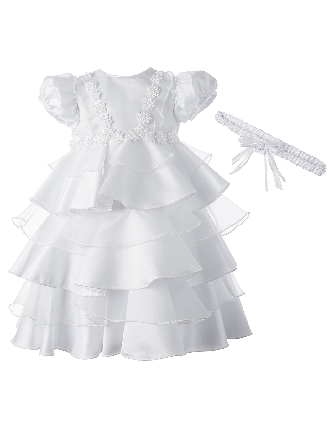 Ericdress Baby Girls Tiered Pleats Christening Gown with Headband