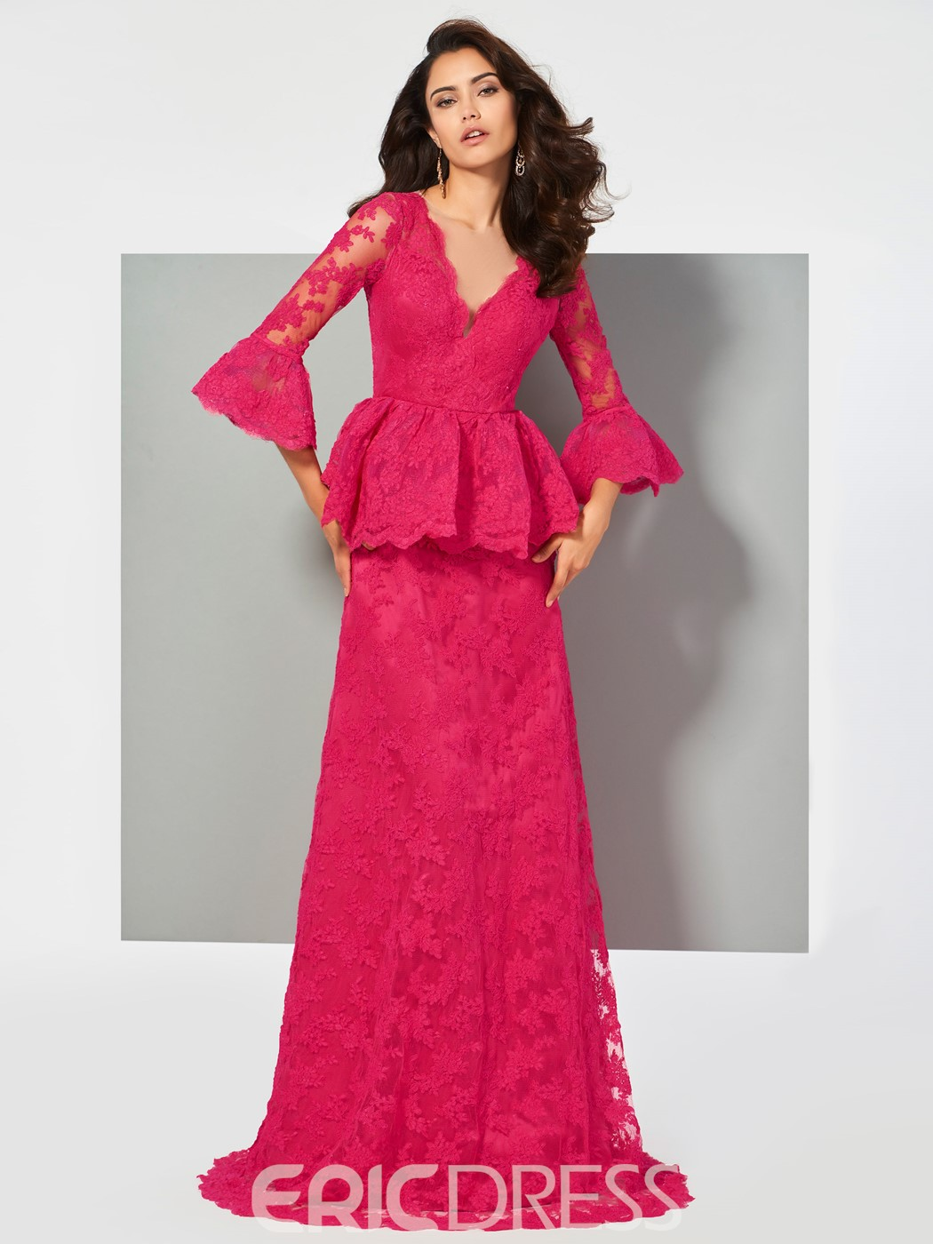 Ericdress A Line 3/4 Sleeve Lace Evening Dress With Button Back