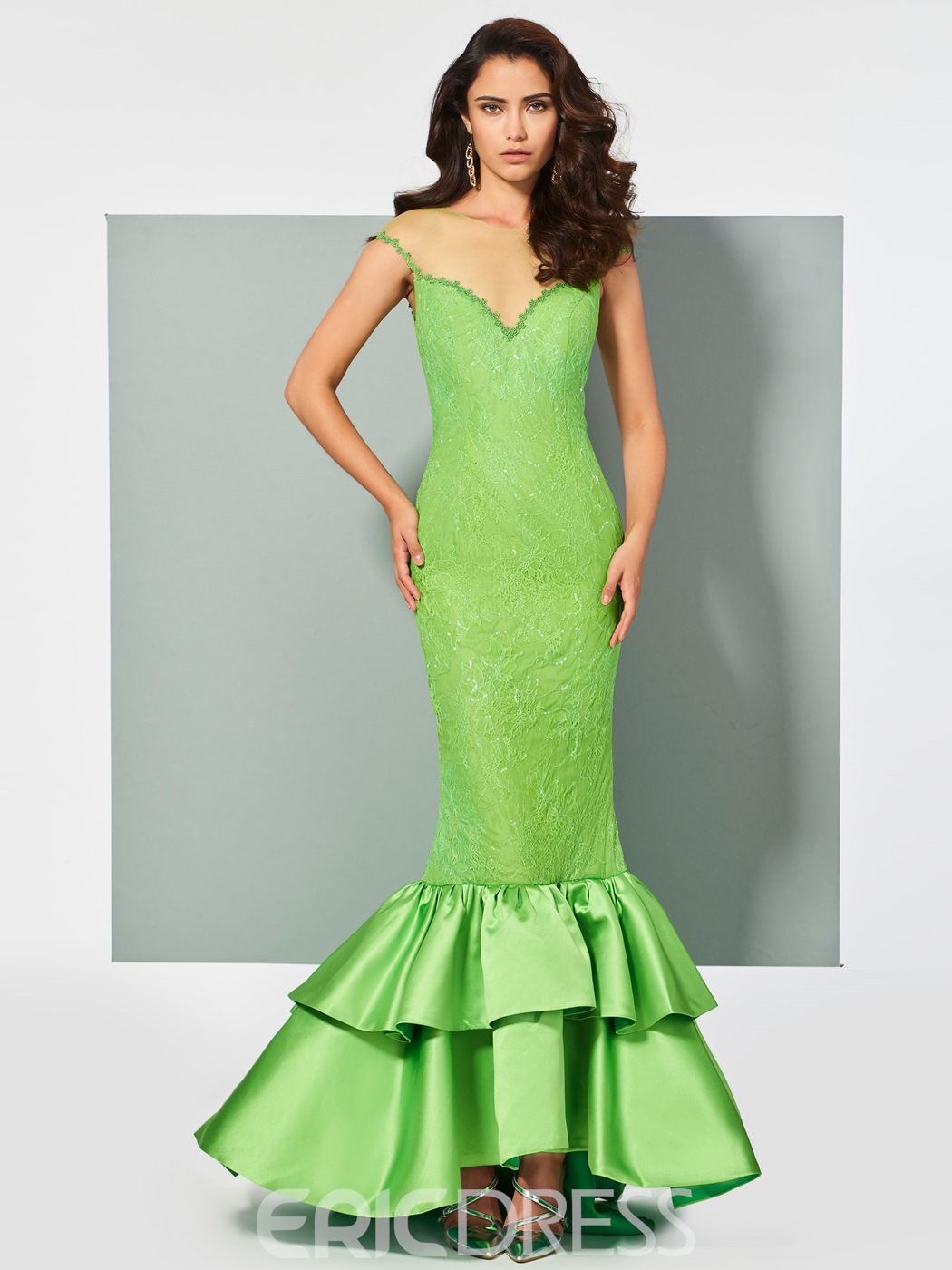 Ericdress Cap Sleeve Lace Mermaid Evening Dress With Sheer Back