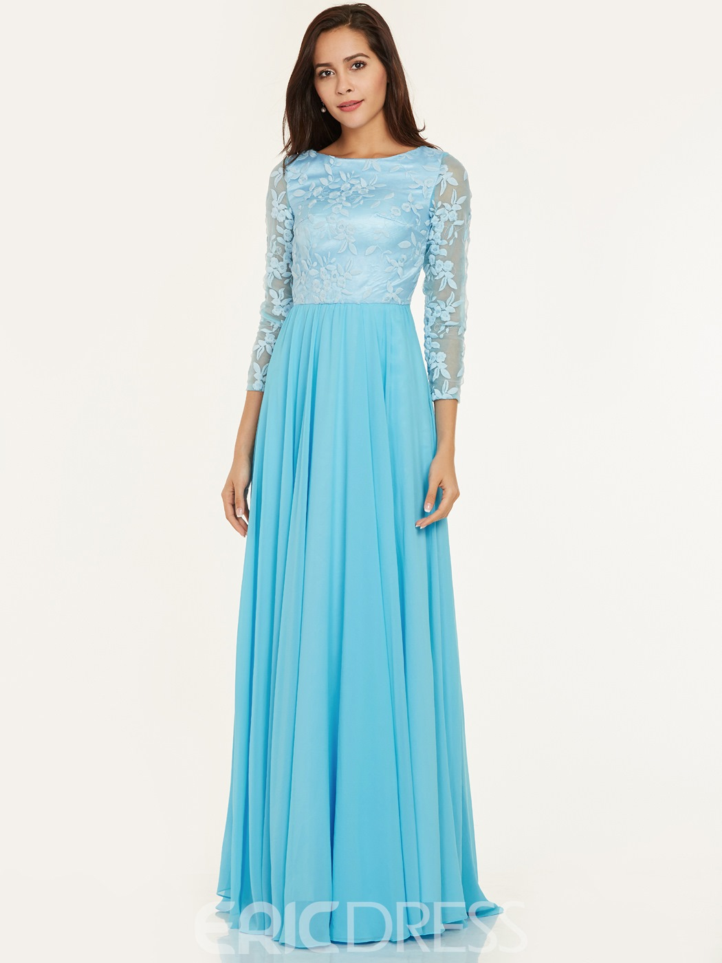 Ericdress Scoop Neck Lace A Line Evening Dress