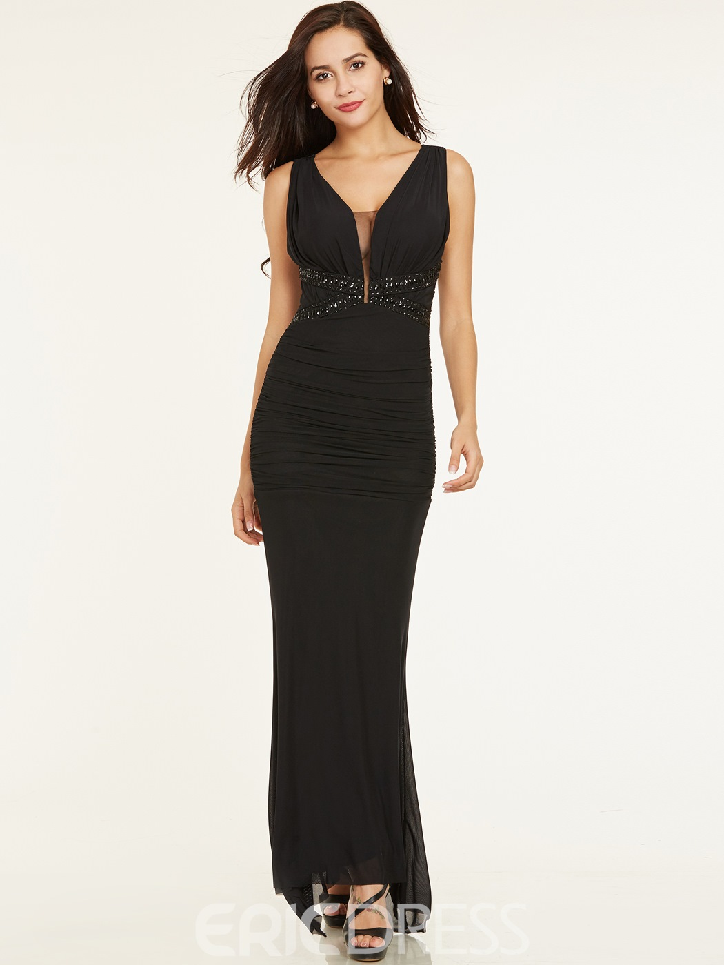 Ericdress V Neck Zipper-Up Beaded Sheath Evening Dress