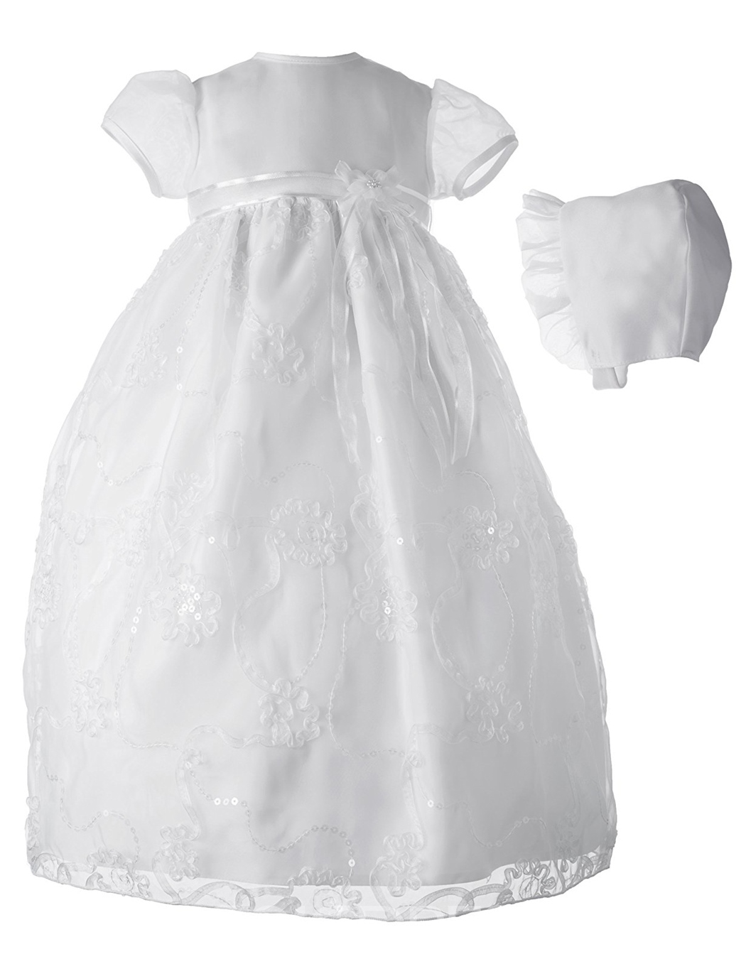Ericdress Appliques Sequins Bonnet Infant Baby Girls Christening Gown