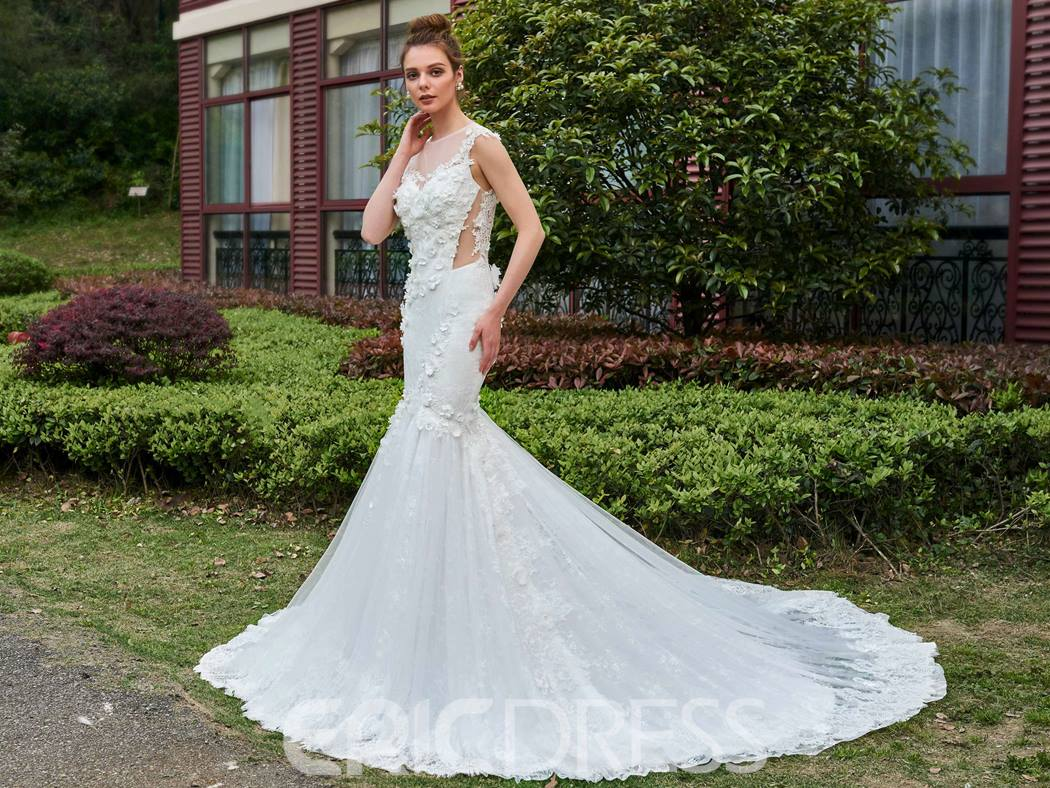 Ericdress Long Train 3D Floral Appliques Flowers Mermaid Wedding Dress