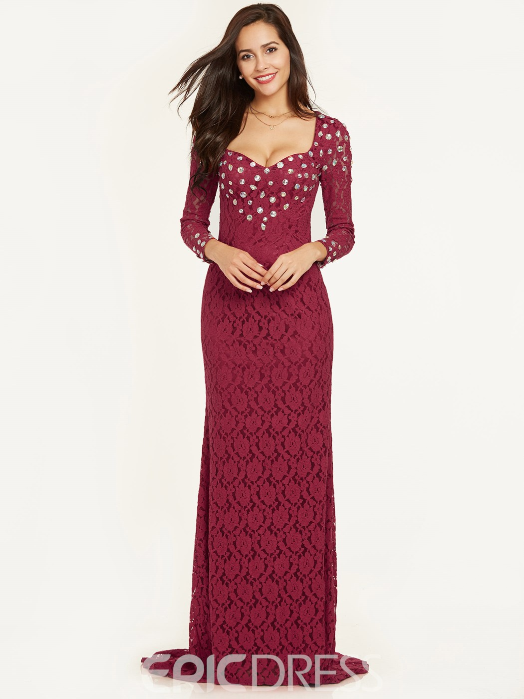 Ericdress Sweetheart Beaded Lace Mermaid Evening Dress
