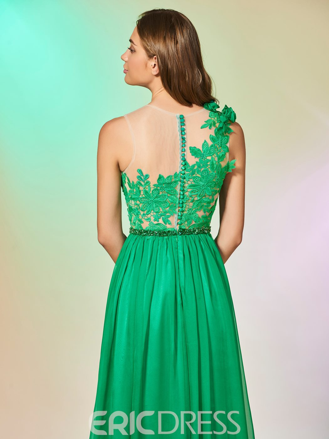 Ericdress A Line Applique Baeded Long Prom Dress With Button Back