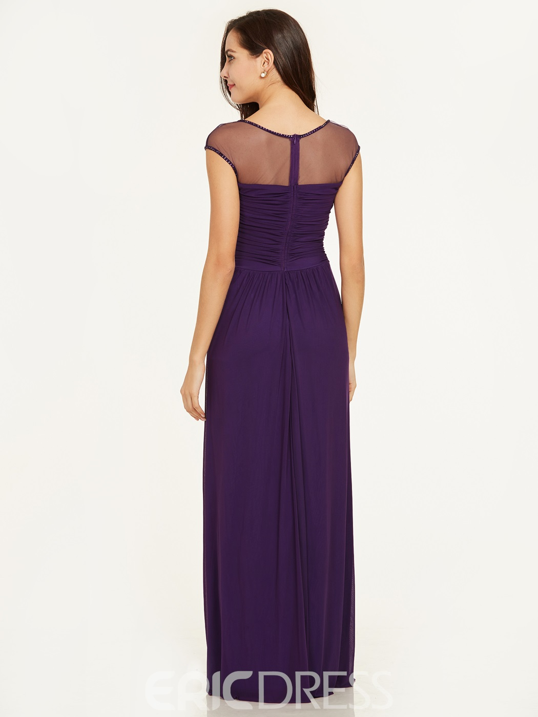 Evening Dress Square Neck Cap Sleeves A Line