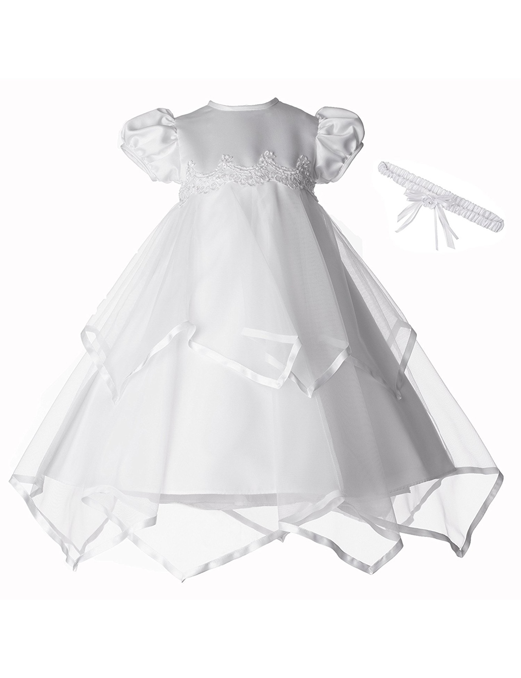 Ericdress Tulle Short Sleeves Christening Gowns with Headpiece