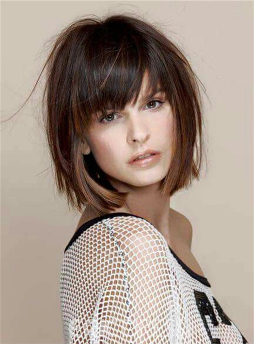 Ericdress Women's Short Straight Bob With Bangs Human Hair Capless Wig 10 Inches