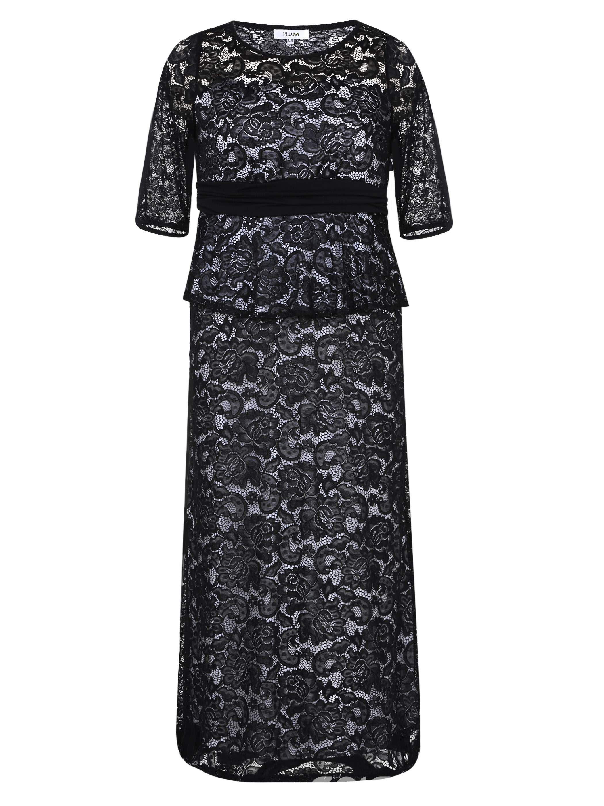 Ericdress Round Collar Patchwork Lace Maxi Dress