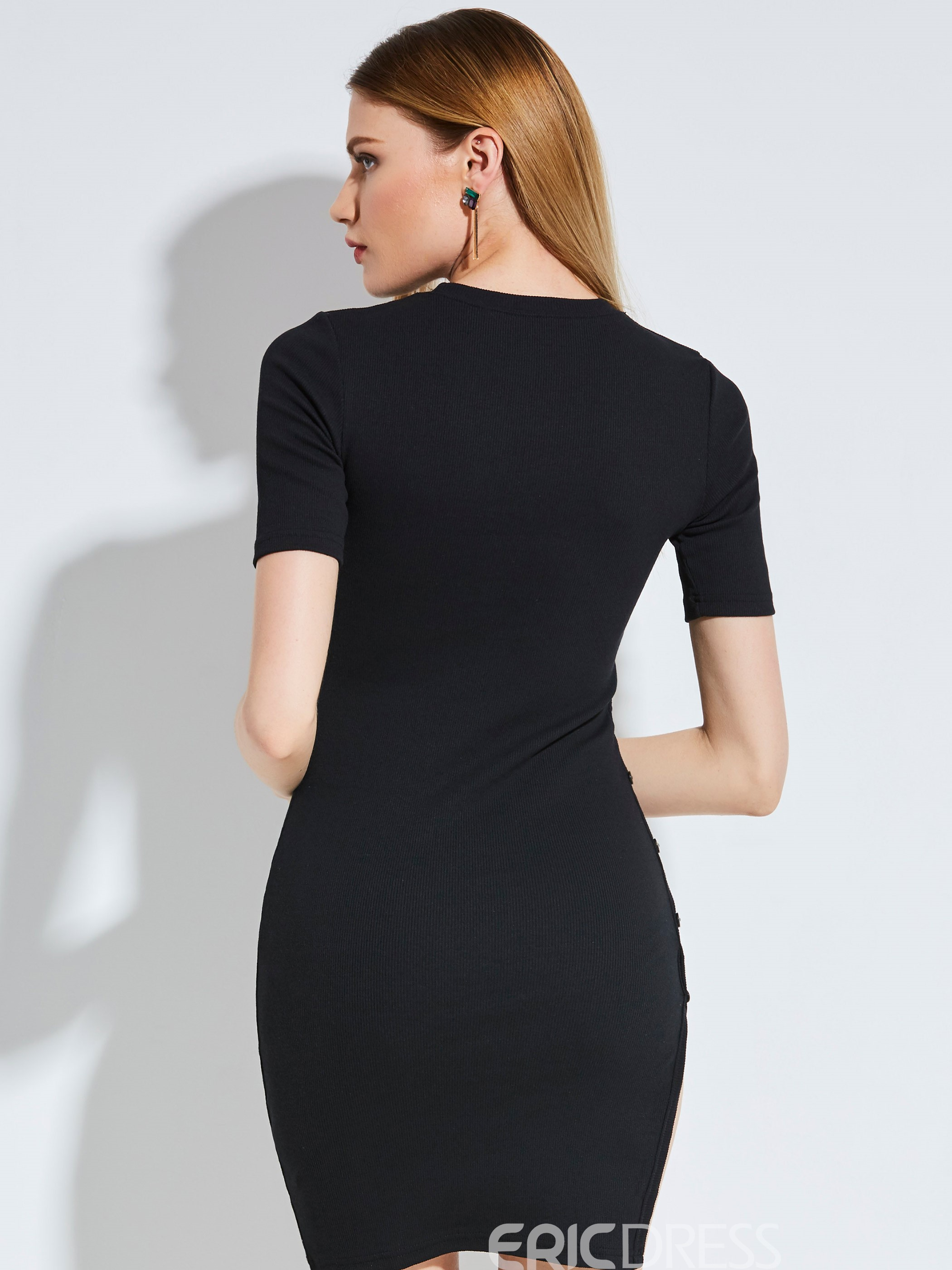 Round Neck Side Button Women's Bodycon Dress
