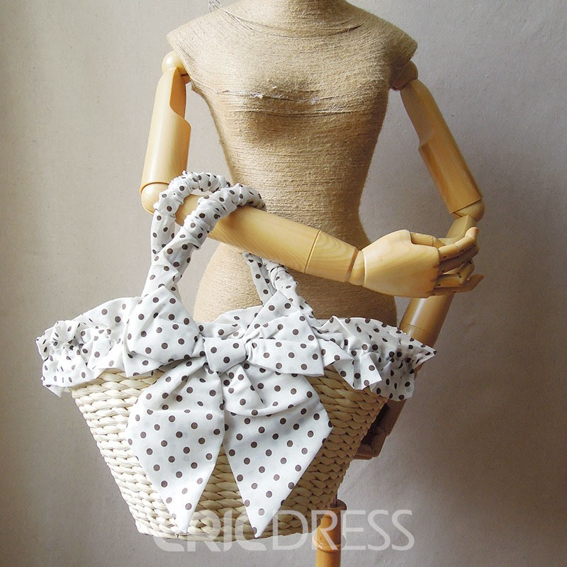 Ericdress Casual Dotted Knitted Straw Handbag