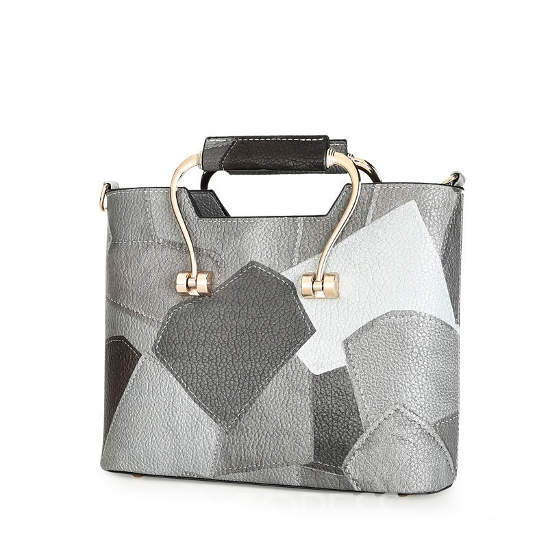 Ericdress Geometric Color Block PU Handbag