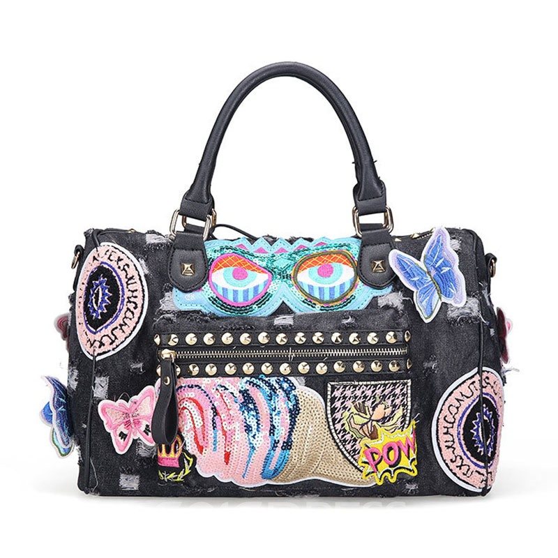 Ericdress Casual Geometric Patchwork Ripped Denim Handbag