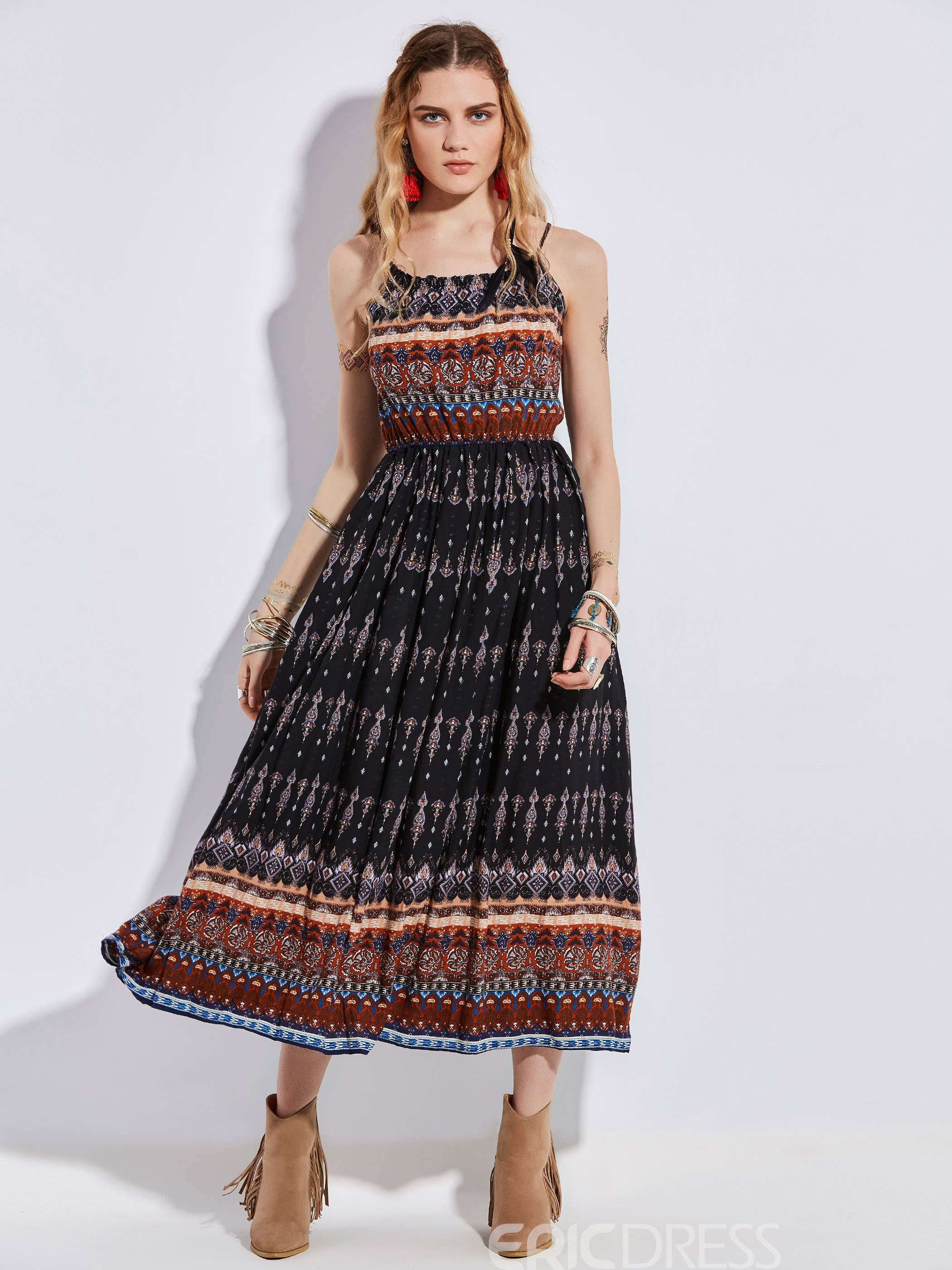 Ericdress Geometric Pattern Print Maxi Dress