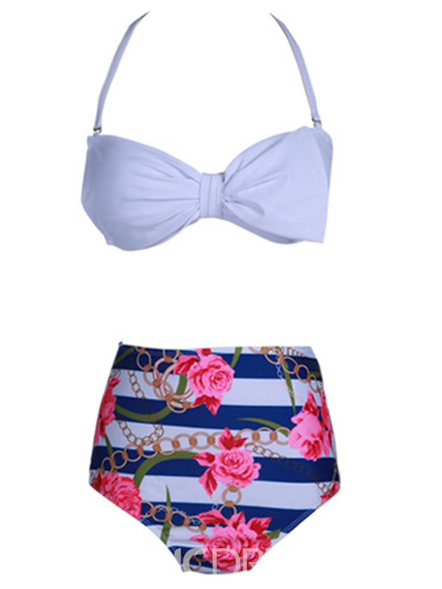 Ericdress Lace-Up Bowknot Floral Tankini Set