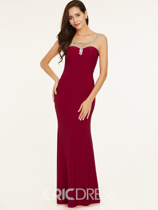 Ericdress Bateau Neck Backless Beaded Evening Dress