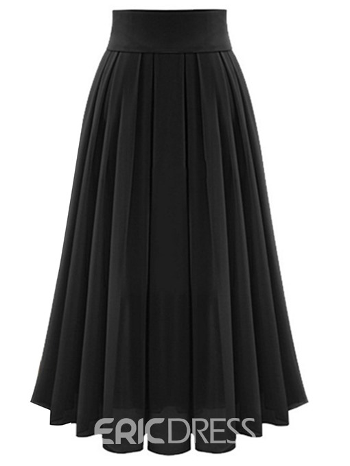 Ericdress Broomstick Chiffon Expansion Pleated Ankle-Length Women's Skirt