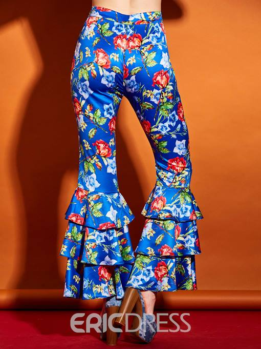 Ericdress Elastics Ruffles Floral Bellbottoms Pants