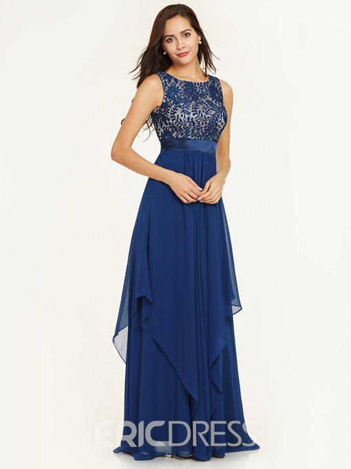 Ericdress A Line Scoop Neck Zipper-Up Ankle-Length Prom Dress
