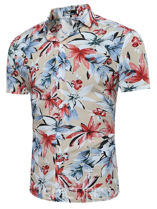 Ericdress Floral Print Casual Beach Style Men's Shirt