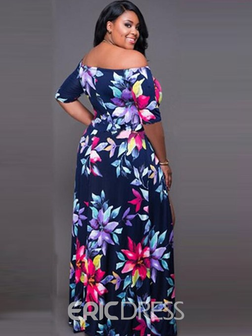 Ericdress Plus Size Slash Neck Floral Asymmetric Women's Dress