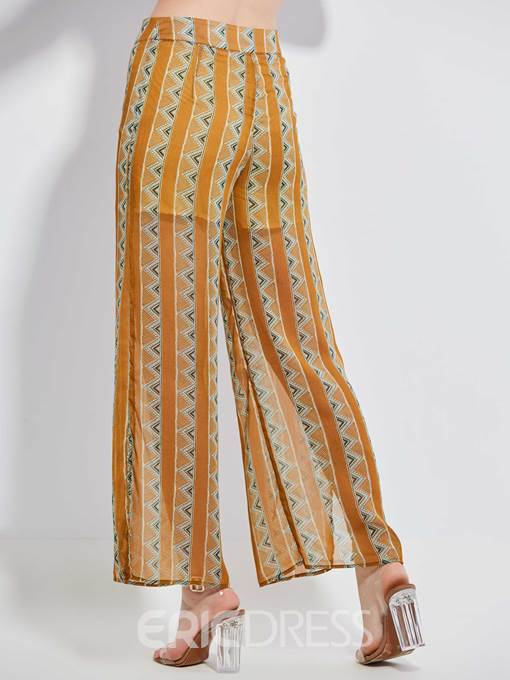 Color Block Geometric Pattern Wide Legs Women's Pants