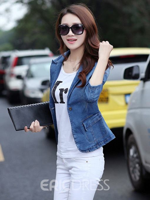 Ericdress Elegant Lapel Denim Blazer
