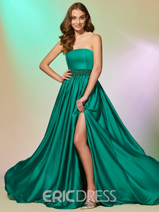 Ericdress A Line Strapless Side Slit Long Prom Dress With Beaded Waistline