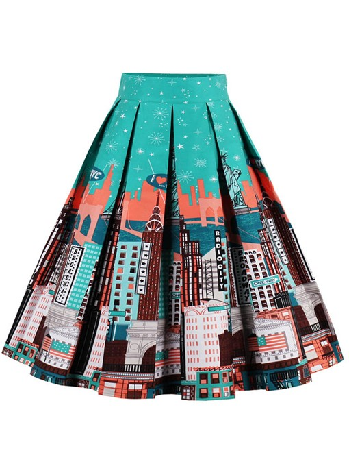 Ericdress Mid-Calf Pleated Full Plant Skirts