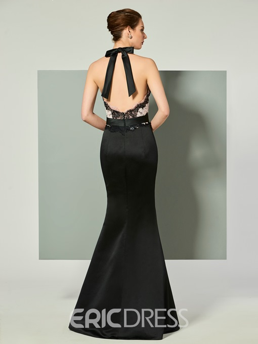 Ericdress Halter Applique Backless Mermaid Evening Dress With Bowknot