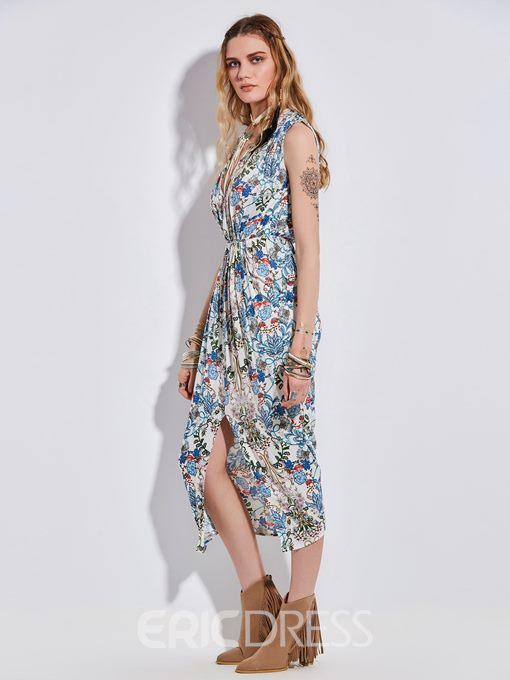 Ericdress V-Neck Flower Print Sleeveless Maxi Dress