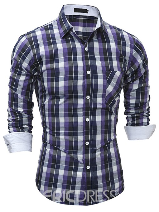 Ericdress Plaid Slim Men's Shirt