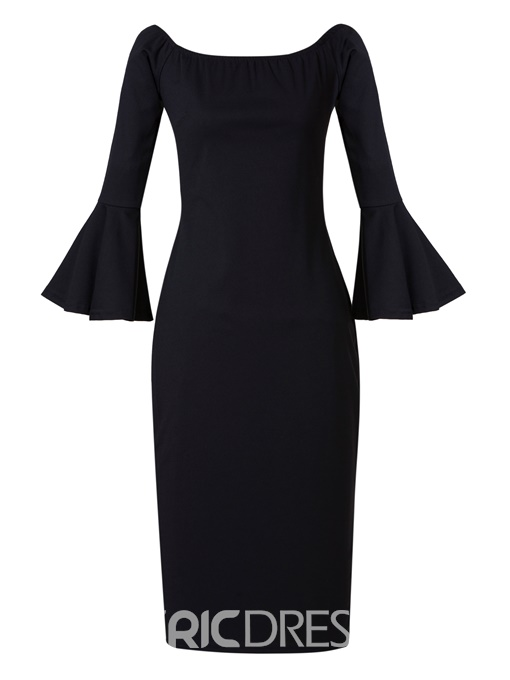 Ericdress Slash Neck Bell Sleeve Bodycon Dress