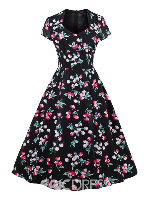 Ericdress Floral Sleeveless Chiffon A-Line Dress
