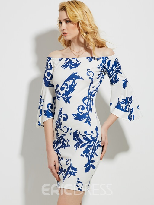 Ericdress Slash Neck Floral Print Bell Sleeve Bodycon Dress