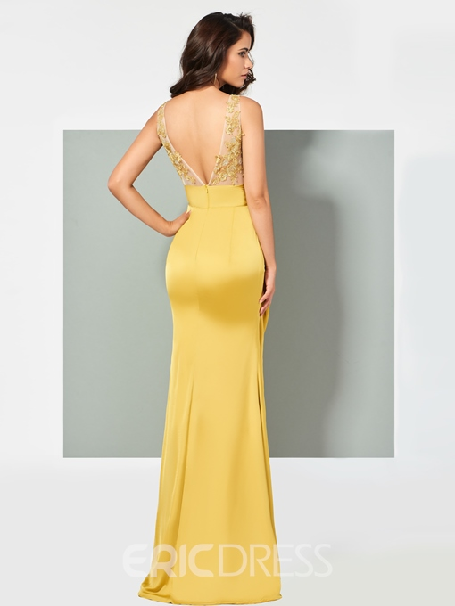 Ericdress Sheath V Neck Applique Mermaid Evening Dress With Deep Back