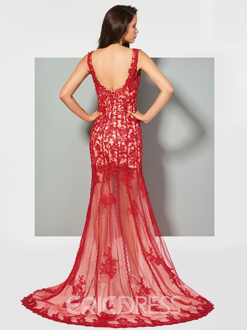 Ericdress V Neck Applique Lace Mermaid Evening Dress With Train