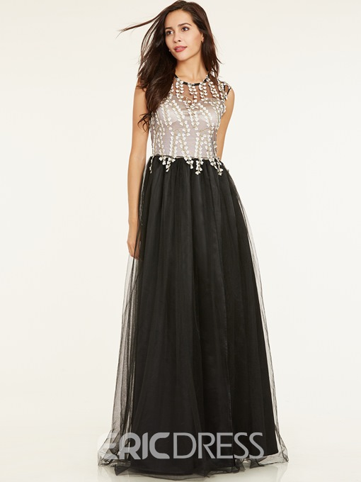 Ericdresss Scoop Neck Appliques A Line Evening Dress