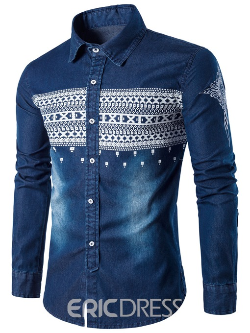 Ericdress Denim Print Casual Slim Men's Shirt