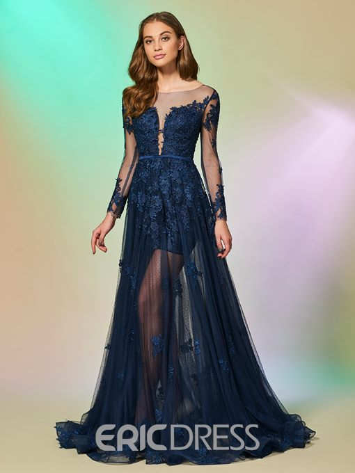Ericdress Long Sleeve Lace Applique A Line Evening Dress
