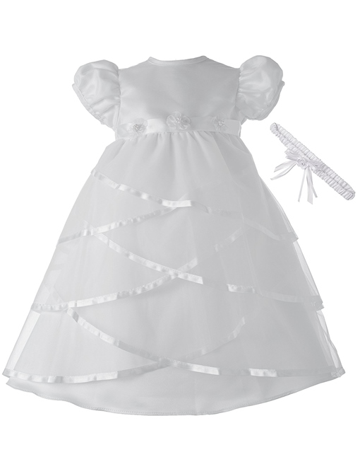Ericdress Tulle Scoop Beading Flower Christening Gown with Headpiece