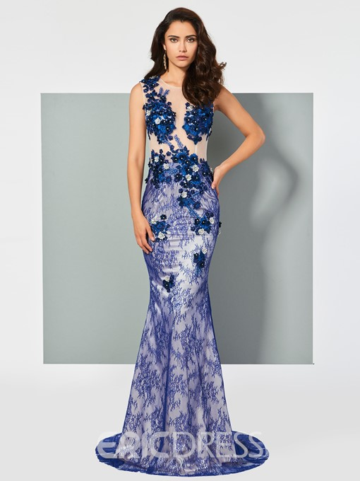Ericdress Scoop Neck Beaded Lace Mermaid Evening Dress With Sweep Train