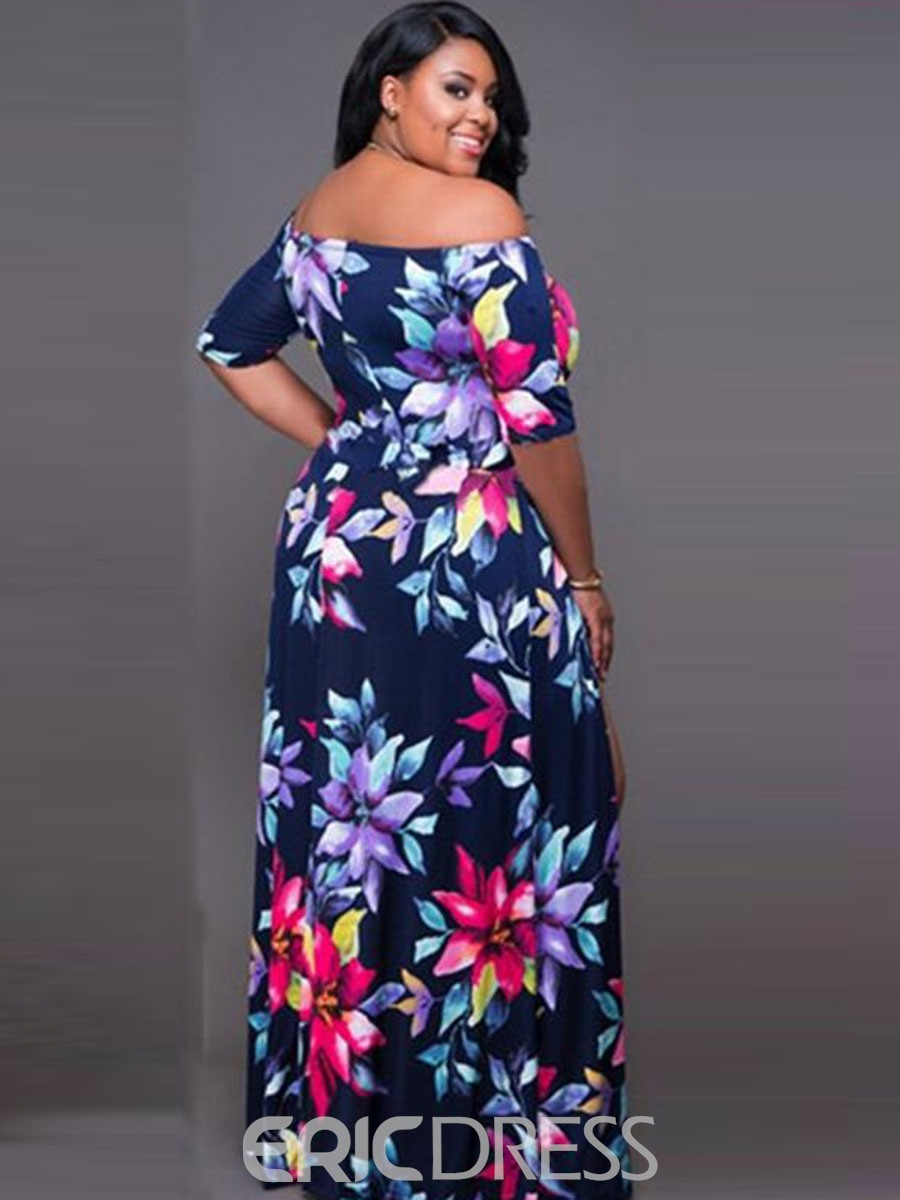 Ericdress Slash Neck Print Asymmetric Maxi Dress