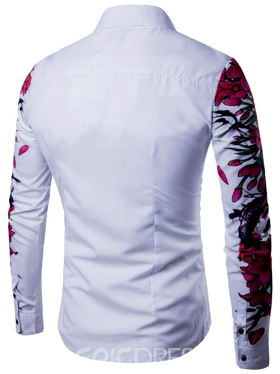 Ericdress Lapel Long Sleeve Floral Print Slim Casual Men's Shirt
