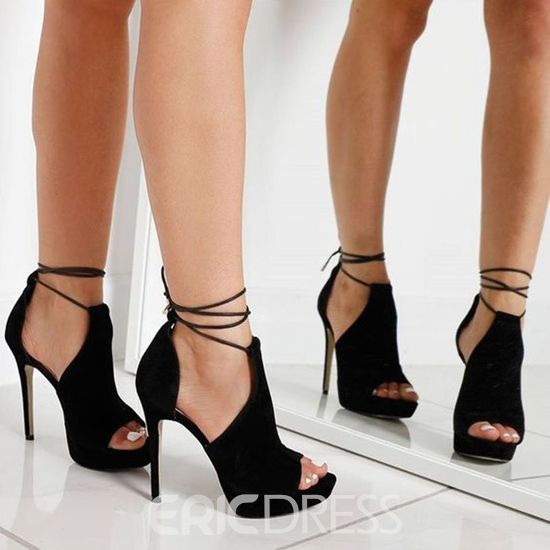 Ericdress Platform Lace-Up Peep Toe Heel Sandals