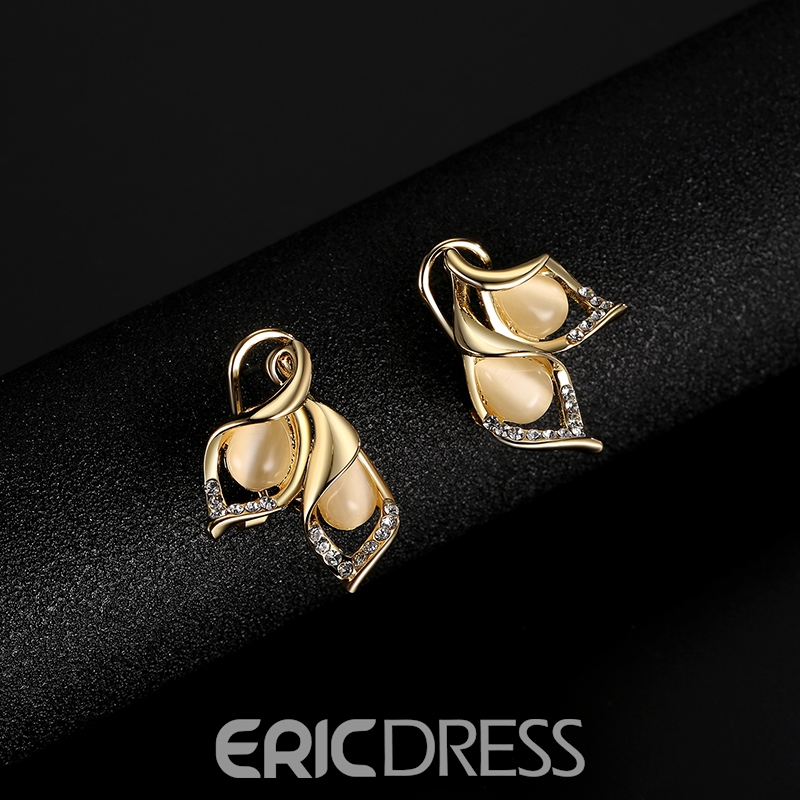 Ericdress Leaf-Shaped Two-Piece Diamante Jewelry Set