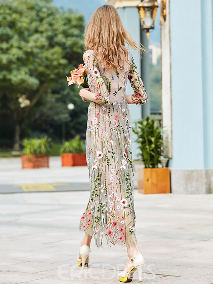 Ericdress See-Through Floral Embroidery Maxi Dress